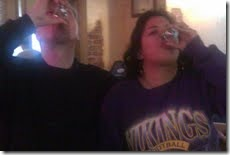Brian and I doing shots